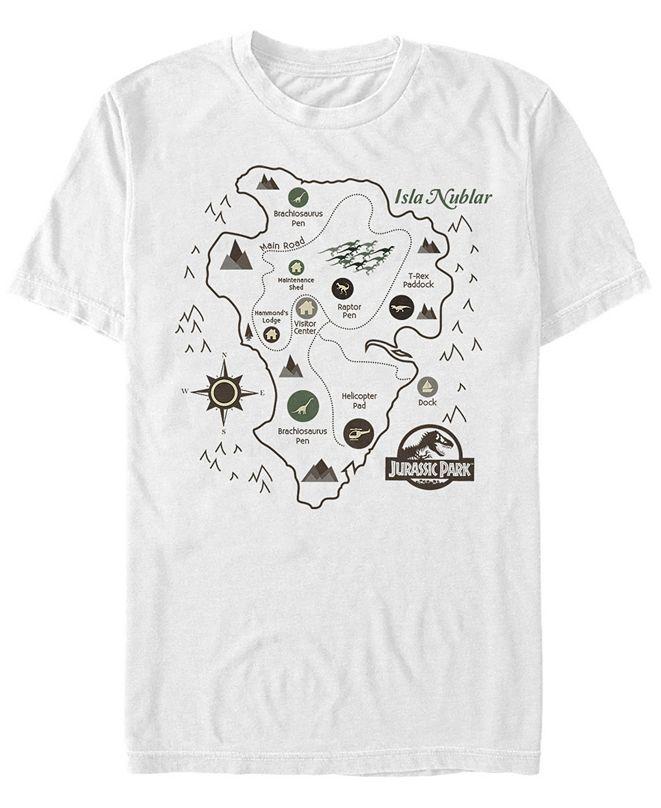 Jurassic Park Men's Isla Nublar Park Map Short Sleeve T-Shirt