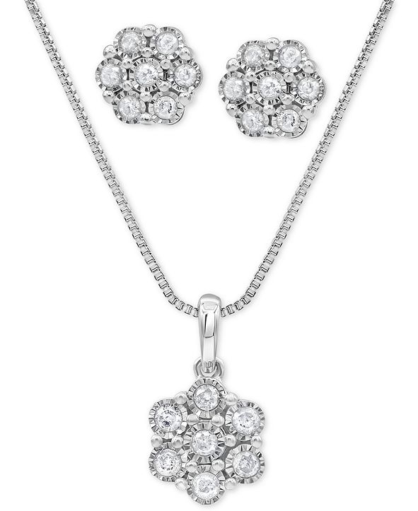 Macy's 2-Pc. Set Diamond Cluster Pendant Necklace & Matching Stud Earrings (1/2 ct. t.w.) in Sterling Silver