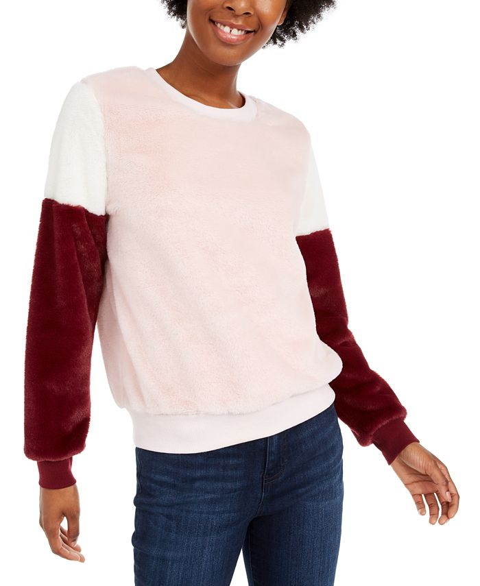 Almost Famous - Juniors' Colorblocked Plush Pullover