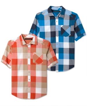Sean John Shirt Oversized Gingham Check Short Sleeve Shirt