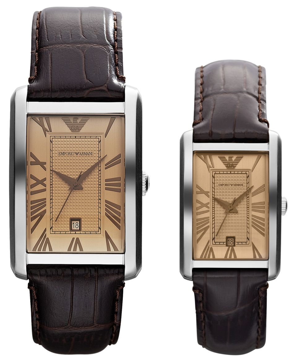Emporio Armani Watch Set, Mens and Womens Brown Leather Straps 39x32mm and 30x25mm AR9103   Watches   Jewelry & Watches