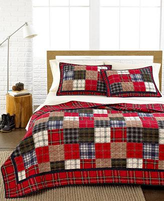 Closeout Martha Stewart Collection Plaid Patchwork Quilts
