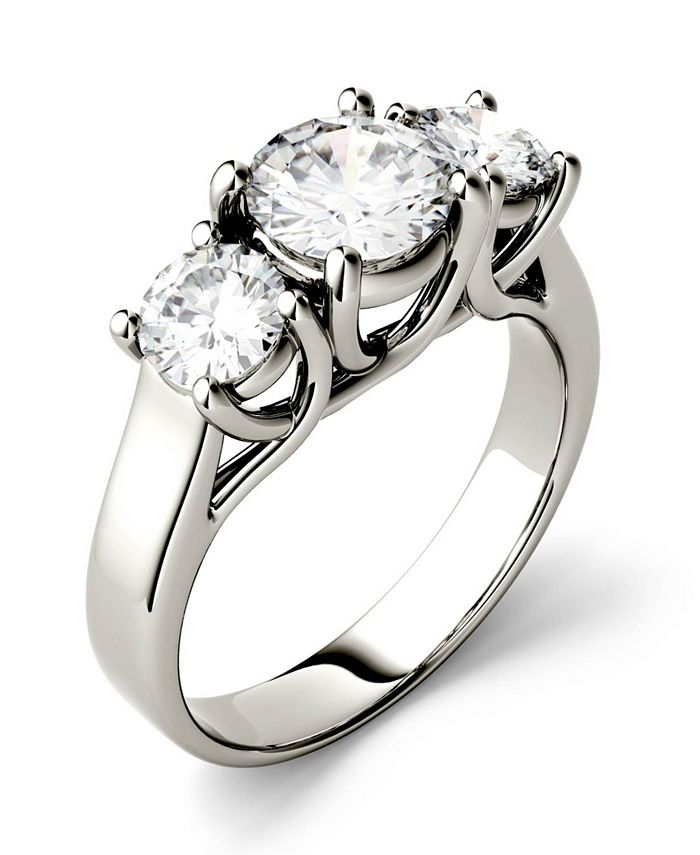 Charles & Colvard - Moissanite Three Stone Ring 2 ct. t.w. Diamond Equivalent in 14k White Gold or 14k Yellow Gold