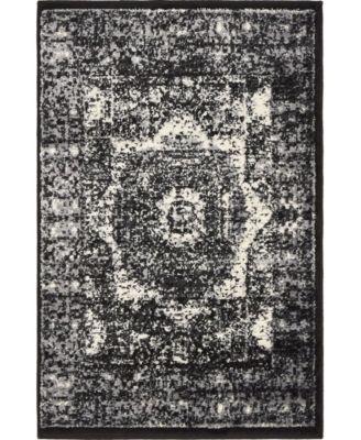 Linport Lin7 Black 4' x 6' Area Rug