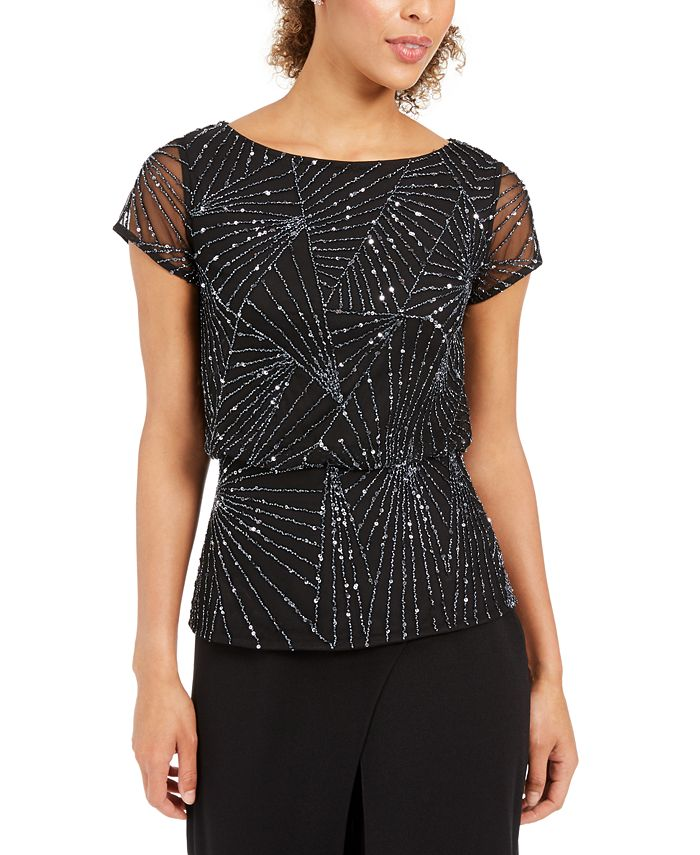 Adrianna Papell - Beaded Mesh Top