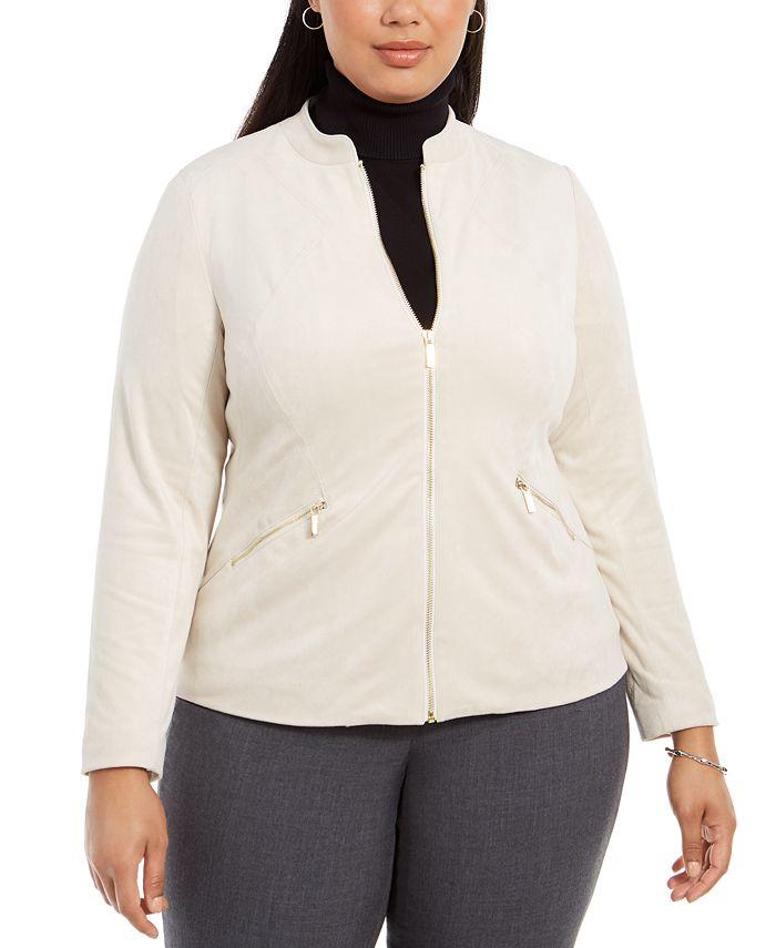 Alfani - Plus Size Faux-Suede Zip Jacket