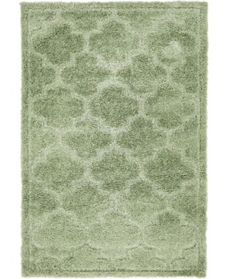 Filigree Shag Fil2 Green 4' x 6' Area Rug