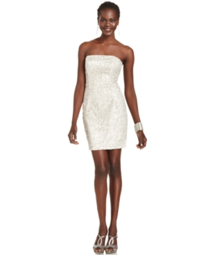 Jessica McClintock Dress, Strapless Sequined Cocktail Dress