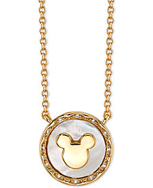 """Disney Mickey Mouse Mother-of-Pearl Pendant Necklace in Fine Silver Plated Gold, 16"""" + 2"""" extender"""