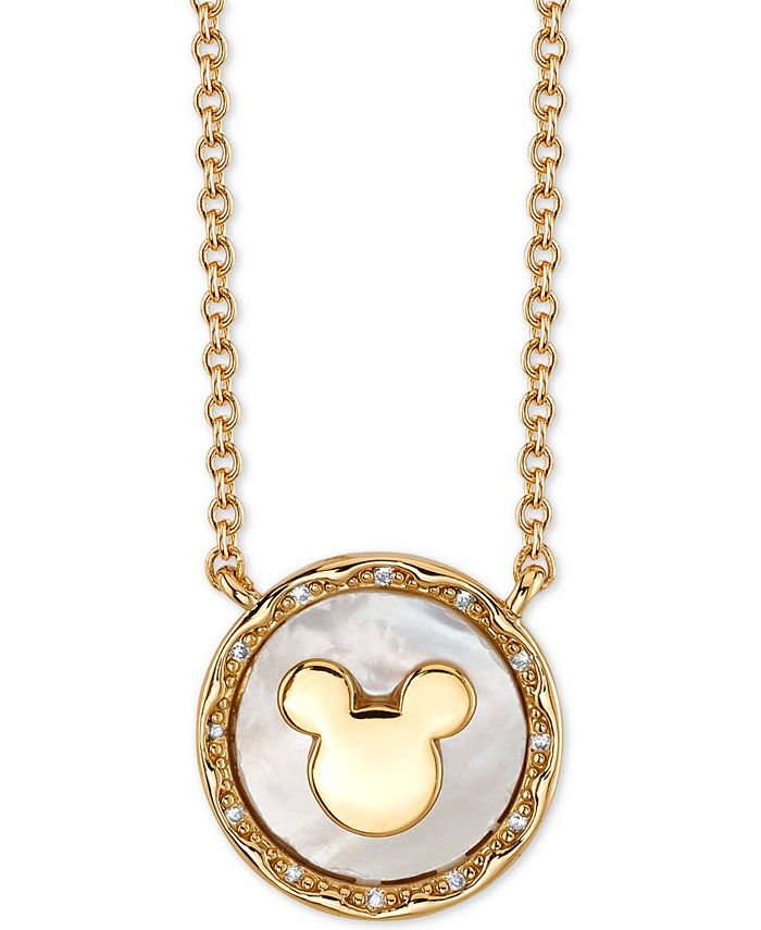 Disney - Mickey Mouse Mother-of-Pearl Pendant Necklace in Gold-Tone