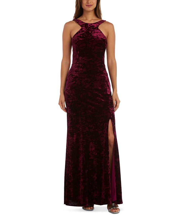Morgan & Company - Juniors' Velvet Halter-Neck Gown