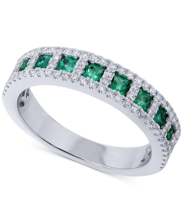 Macy's - Emerald (5/8 ct. t.w.) & Diamond (1/3 ct. t.w.) Ring in 14k White Gold