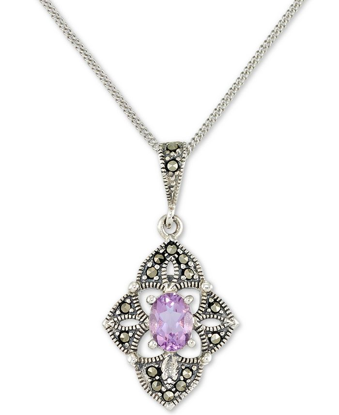 """Macy's - Amethyst (1/2 ct. t.w.) &  Marcasite Flower 18"""" Pendant Necklace in Sterling Silver"""
