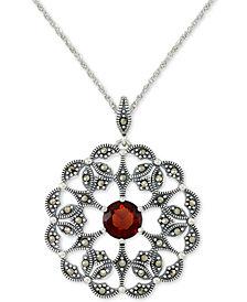 "Rhodolite Garnet (2 ct. t.w.) & Marcasite Flower 18"" Pendant Necklace in Sterling Silver"