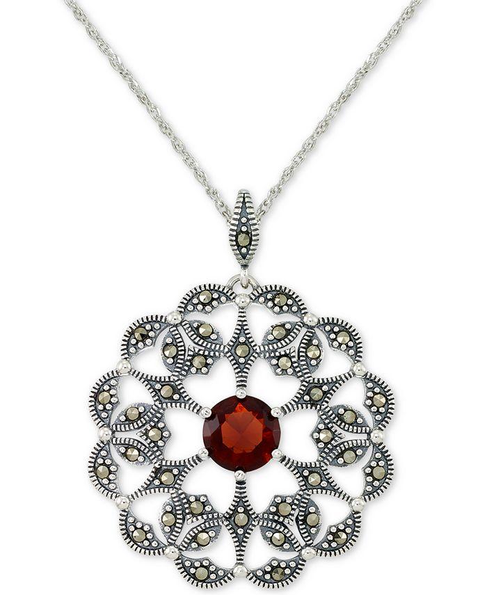 """Macy's - Rhodolite Garnet (2 ct. t.w.) & Marcasite Flower 18"""" Pendant Necklace in Sterling Silver"""