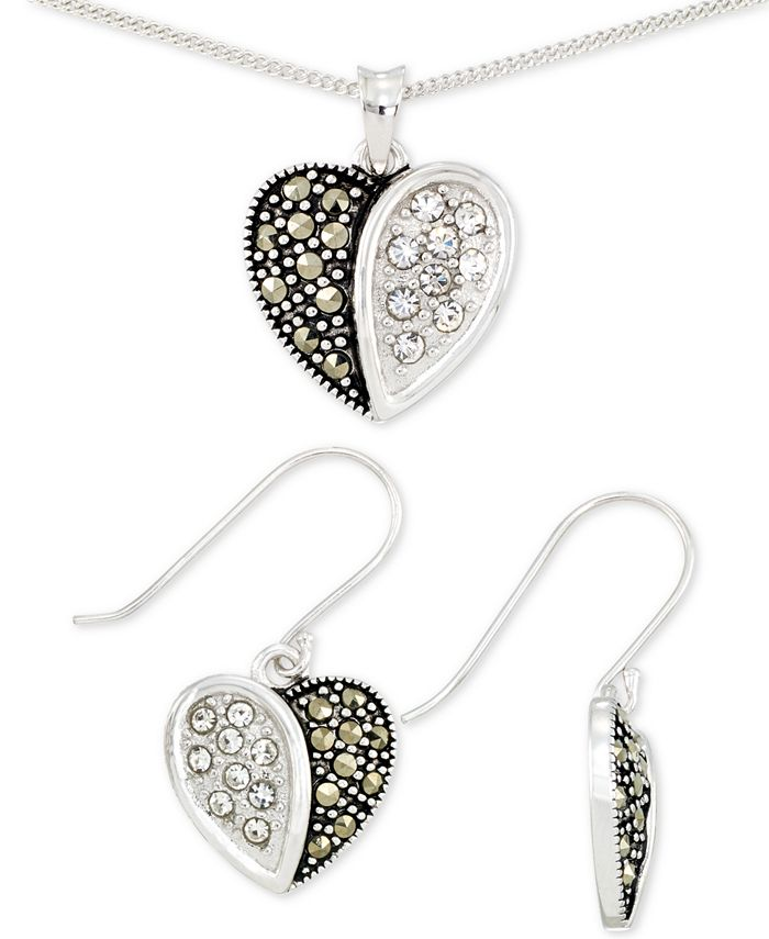 Macy's - 2-Pc. Set Marcasite & Crystal Heart Pendant Necklace & Matching Drop Earrings
