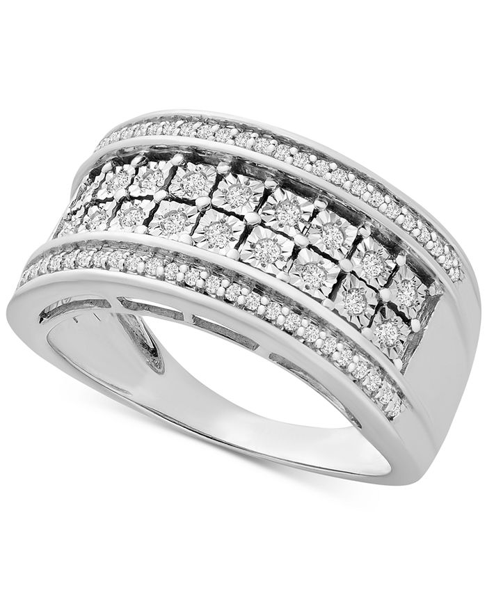 Macy's - Diamond Double Row Statement Band (1/3 ct. t.w.) in Sterling Silver