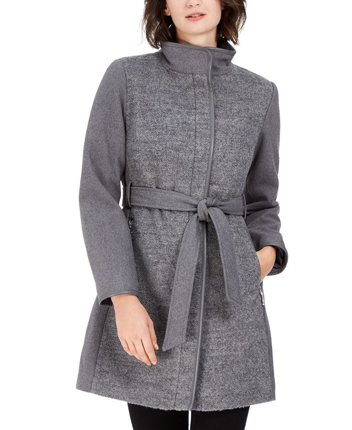 Vince Camuto - Twill Wool Faux-Leather Trim Coat