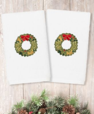 Christmas Wreath Embroidered 100% Turkish Cotton 2-Pc. Hand Towel Set