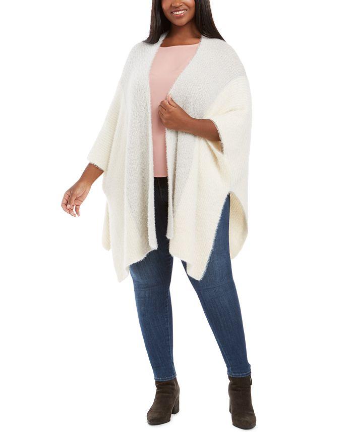 Belldini - Plus Size Fuzzy-Knit Poncho