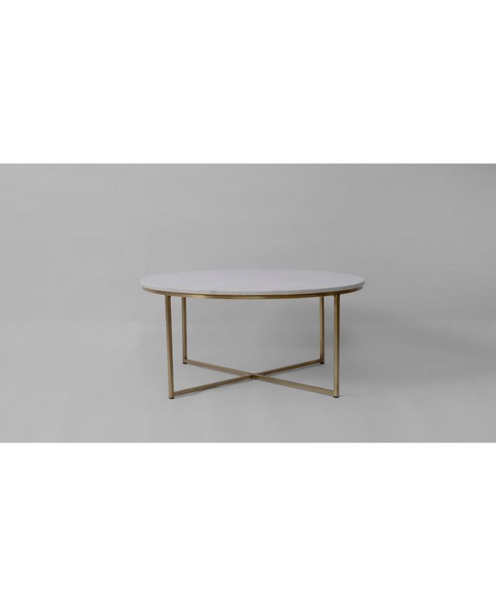 Livings Home And Garden Marble And Brass Round Coffee Table Reviews Furniture Macy S