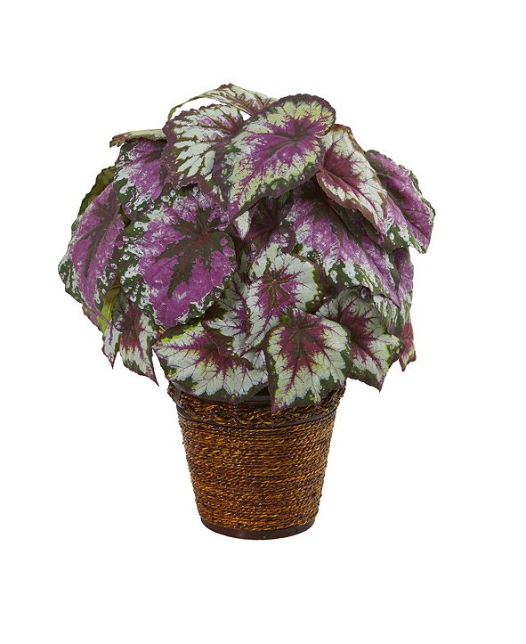 """Nearly Natural 17"""" Wax Begonia Artificial Plant in Basket"""