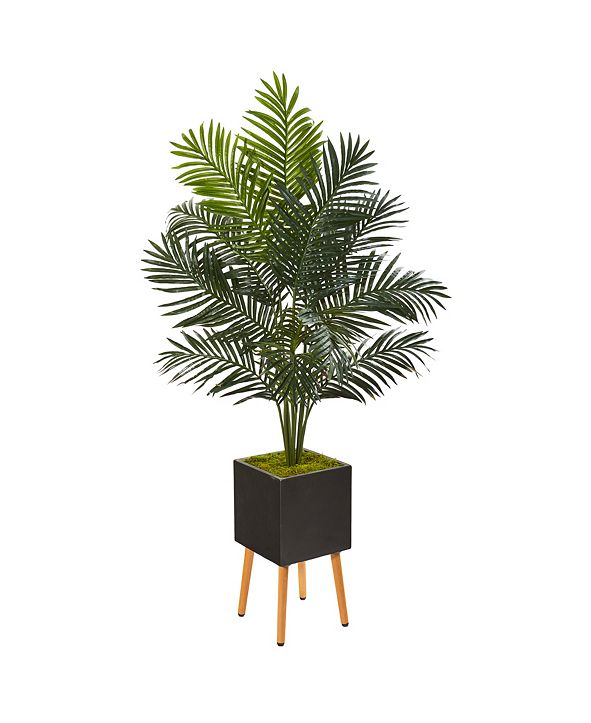 "Nearly Natural 65"" Paradise Palm Artificial Tree in Black Planter with Stand"