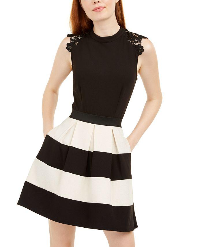 Speechless - Juniors' Lace-Trim Striped Fit & Flare Dress