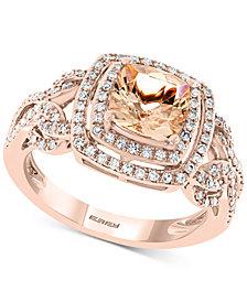 EFFY® Morganite (1-3/8 ct. t.w.) & Diamond (3/8 ct. t.w.) Ring in 14k Rose Gold