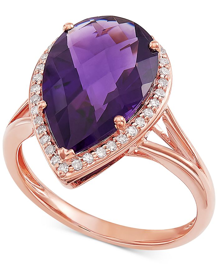 Macy's - Amethyst (4-5/8 ct. t.w.) & Diamond (1/6 ct. t.w.) Statement Ring in 14k Rose Gold