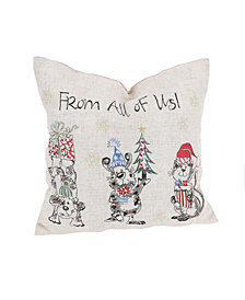 """Manor Luxe Animal's Fun Holiday Party Embroidered Pillow, 14"""" x 14"""""""