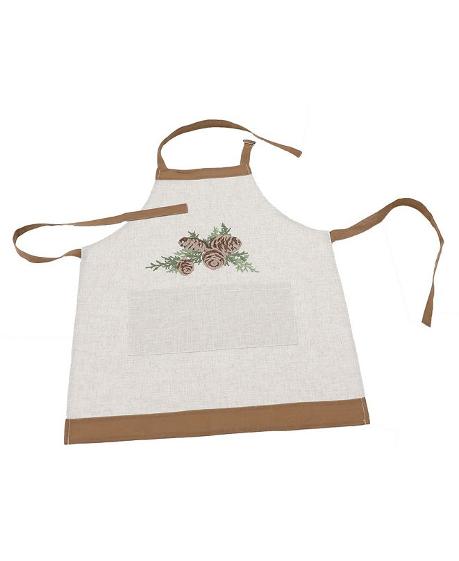 Manor Luxe Winter Pine Cones and Branches Crewel Embroidered Apron