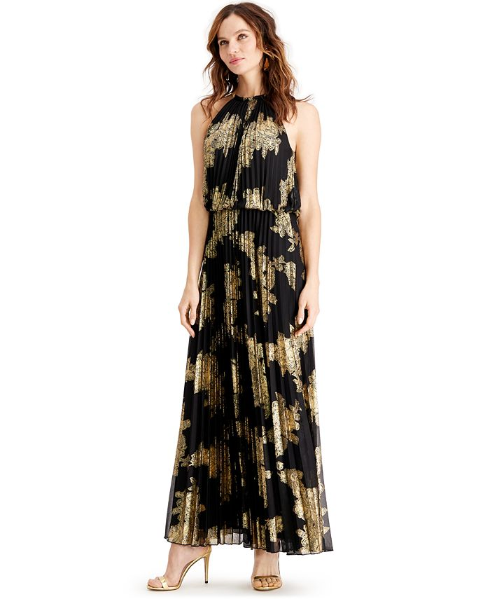 MSK - Petite Pleated Gold-Print Gown