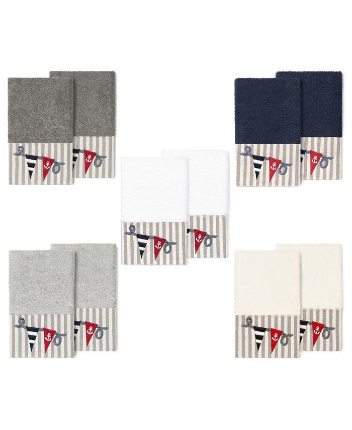 Linum Home - 100% Turkish Cotton Ethan 2-Pc. Embellished Hand Towel Set
