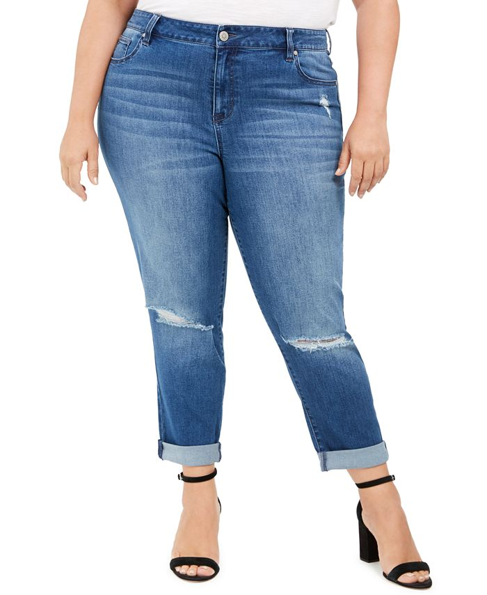 Celebrity Pink - Trendy Plus Size Ripped Girlfriend Jeans