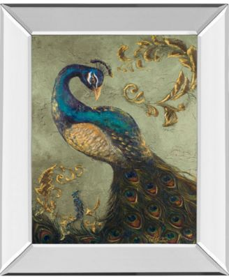 """Peacock on Sage Il by Tiffany Hakimipour Mirror Framed Print Wall Art - 22"""" x 26"""""""