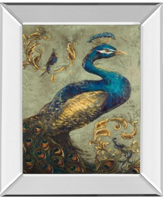 """Peacock on Sage I by Tiffany Hakimipour Mirror Framed Print Wall Art - 22"""" x 26"""""""