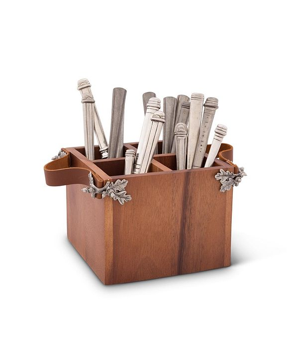 Vagabond House Caddy Square Acacia Wood Flatware, Serve Ware, Utensil, Carry-All Holder with Solid Pewter Acorn and Oak Leaf Accent and Real Leather Handles, 4 Compartments