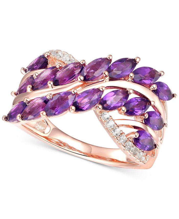 Macy's - Amethyst (2 ct. t.w.) & Diamond (1/10 ct. t.w.) Ring in 14k Rose Gold-Plated Sterling Silver