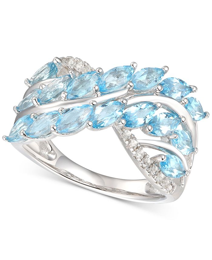 Macy's - Blue Topaz (2-1/3 ct. t.w.) & Diamond (1/10 ct. t.w.) in Sterling Silver