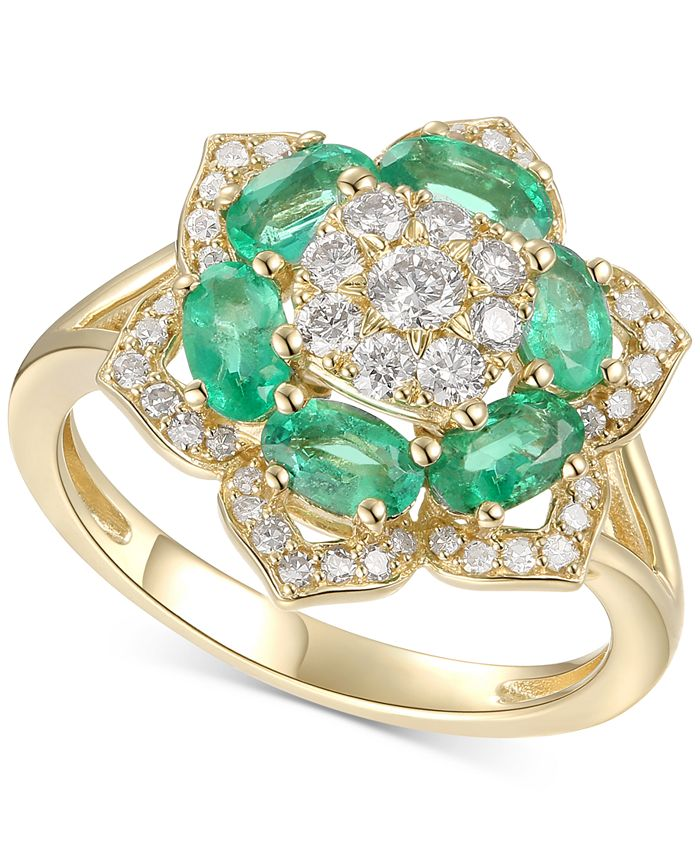 Macy's - Emerald (1-1/4 ct. t.w.) and Diamond (1/2 ct. t.w.) Ring in 14k Gold, also available in emerald and certified ruby