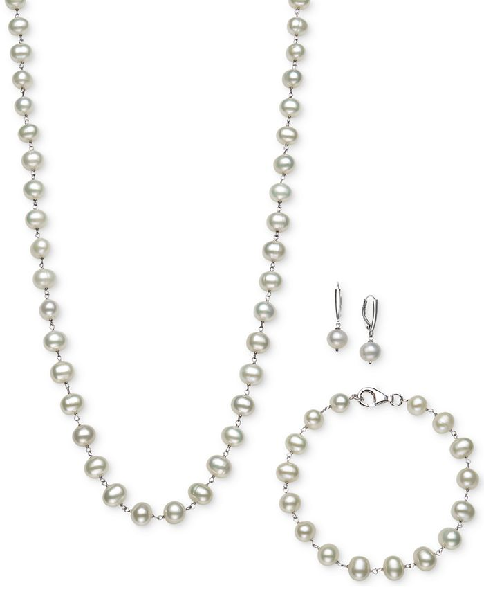 Belle de Mer - Sterling Silver Set, Tin Cup White Cultured Freshwater Pearl Necklace, Bracelet, and Earrings