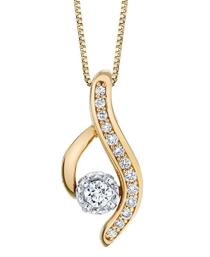 Sirena - 1/4 ct. t.w. Diamond Modern Pendant in 14k Yellow and White Gold