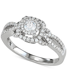 Diamond Halo Openwork Engagement Ring (5/8 ct. t.w.) in 14k White Gold