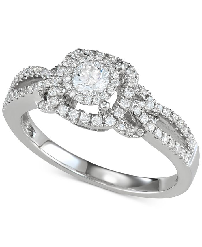 Macy's - Diamond Halo Openwork Engagement Ring (5/8 ct. t.w.) in 14k White Gold