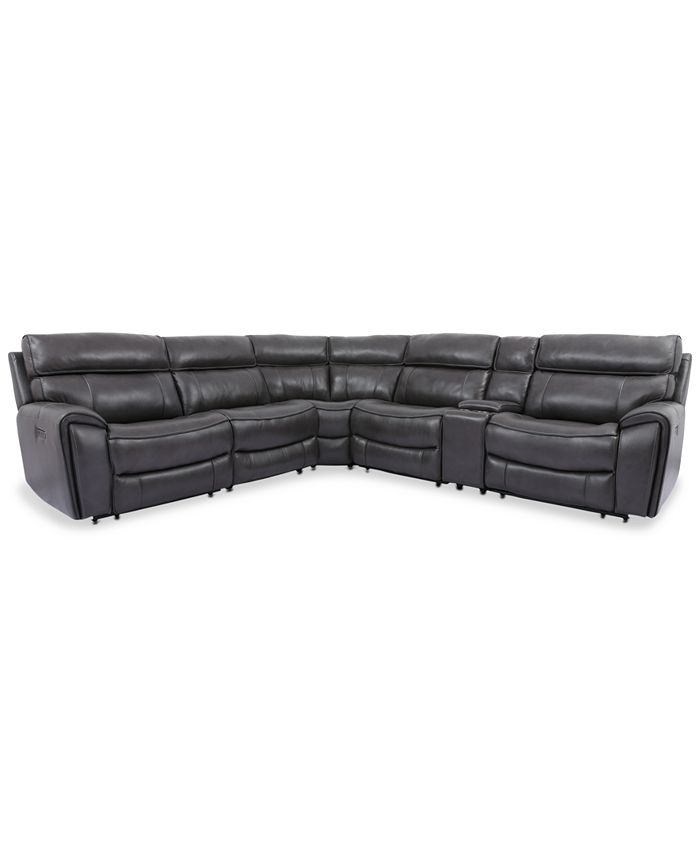Furniture - Hutchenson 6-Pc. Leather Sectional with 2 Power Recliners, Power Headrests and Console with USB