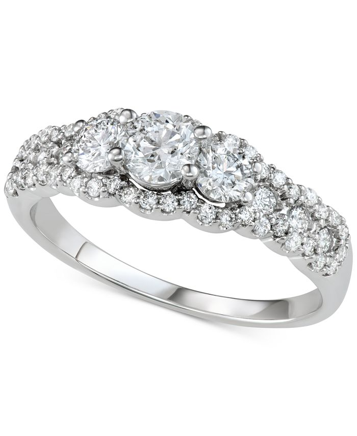 Macy's - Diamond Three-Stone Cluster Engagement Ring (1 ct. t.w.) in 14k White Gold