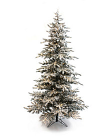Perfect Holiday Pre-Lit Slim Flocked Christmas Tree with Clear LED Lights Collection