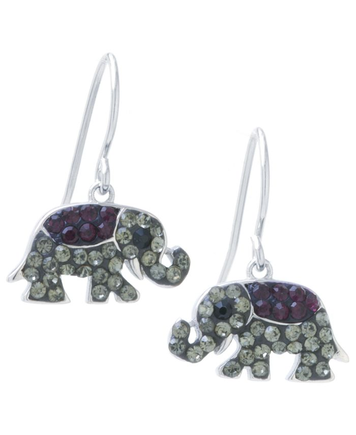 Giani Bernini - Black and Grey Pave Crystal Elephant Wire Drop Earrings set in Sterling Silver