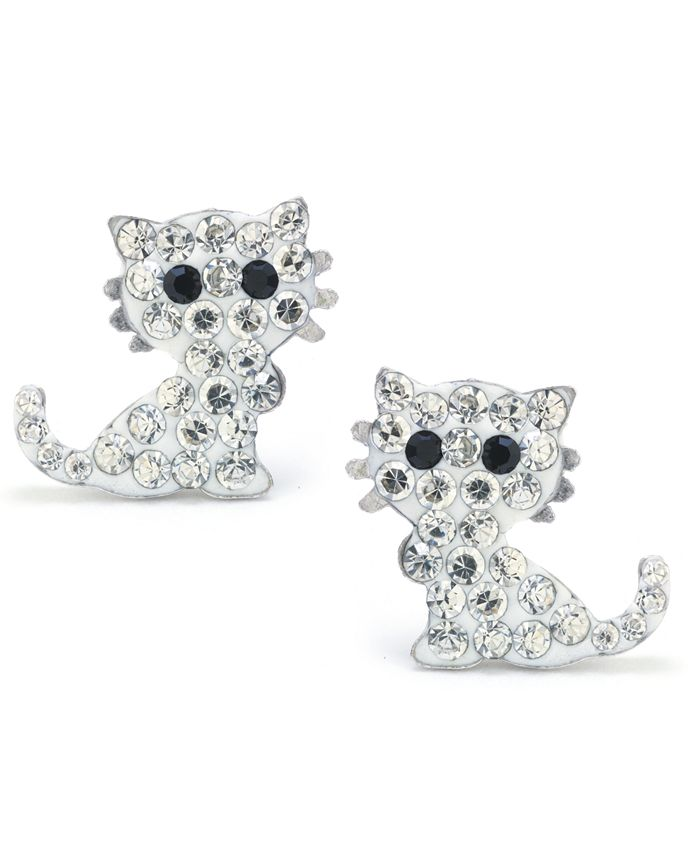 Giani Bernini - Clear Pave Crystal Cat Stud Earrings set in Sterling Silver